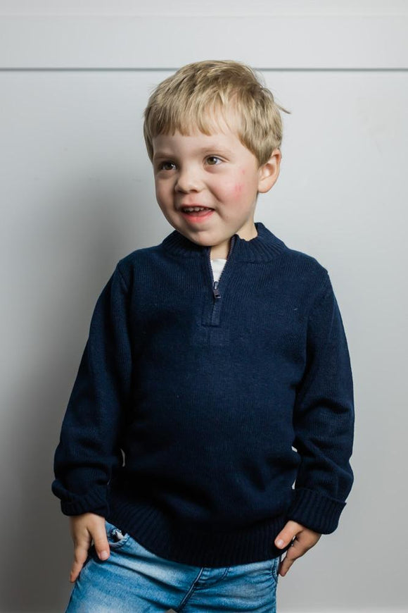 Navy Hunter Kids Knit