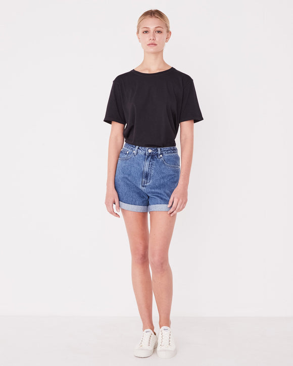 Rolled Hem Shorts Vintage Blue