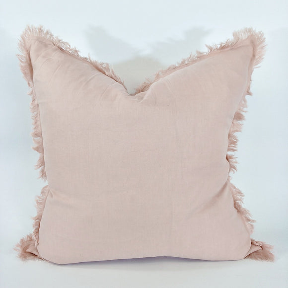 Dusty Pink  French Linen Fringe Edge Feather Filled Cushion
