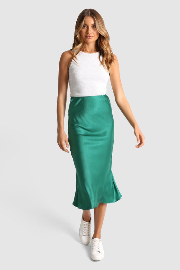 Indi Satin Skirt Peacock