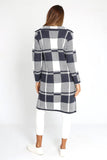 Brixton Check Coat Navy