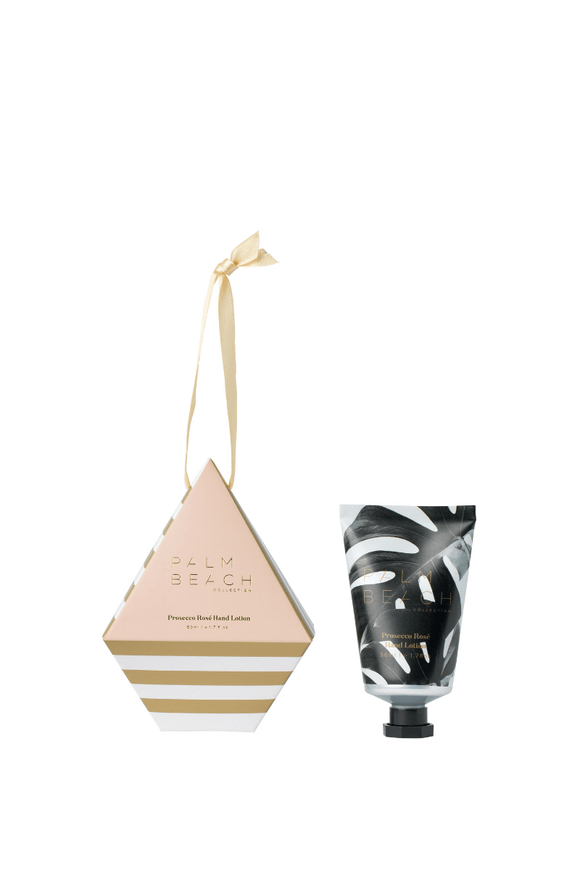 Palm Beach Christmas Prosecco & Rose– hanging bauble hand lotion