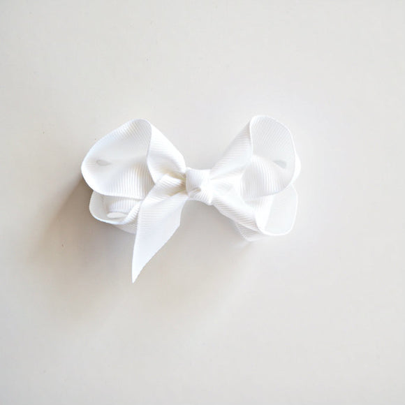 Clip Bow Medium White