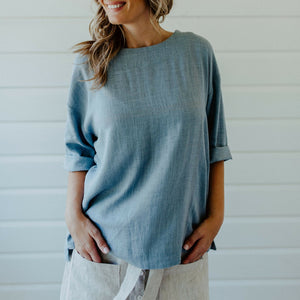 Audrey Linen Top Duck Egg Blue