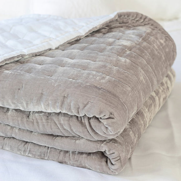 Tempt Silk Velvet Throw Silver Grey