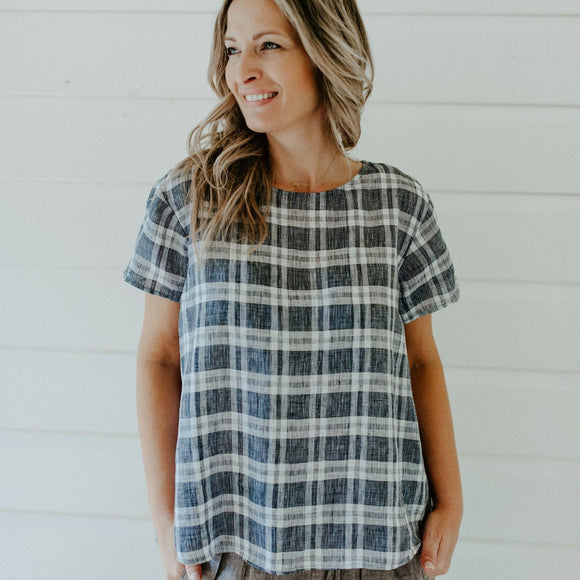 Tate Linen T-Shirt Top Black & White Check