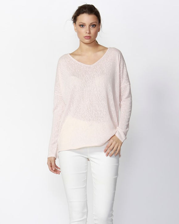 Roosa Polka Dot V Neck Top Dusty Pink