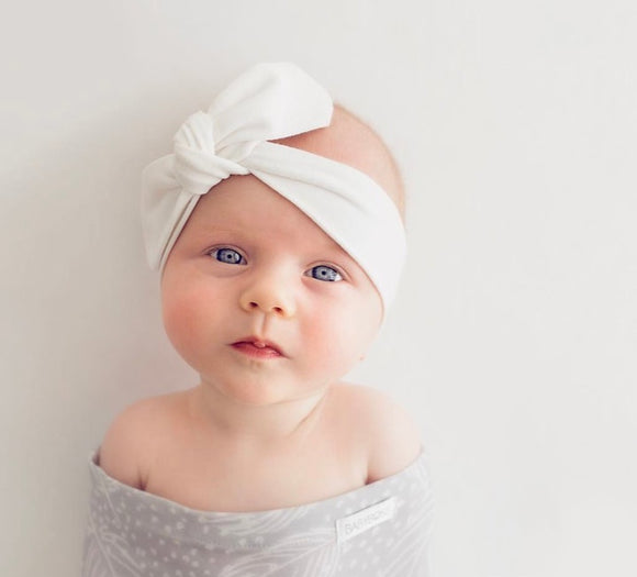 Baby Top Knot Headband White