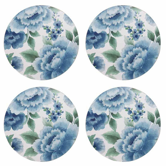 Camilla Blue Round Coaster Set 4