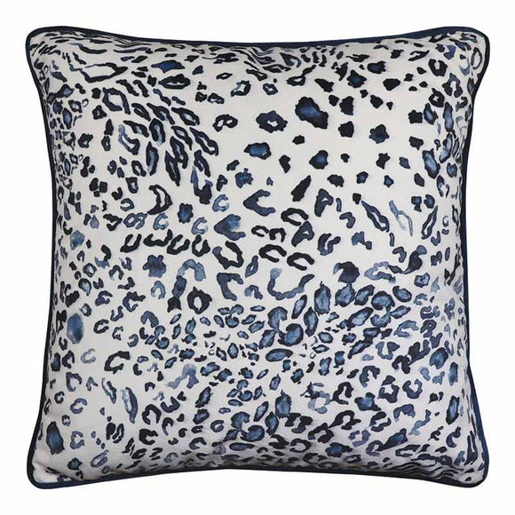 Blue Leopard Velvet Cushion 50cm