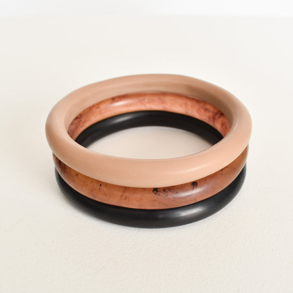 Set 3 Resin Bangles Camel/Tort