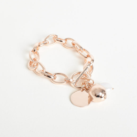 Pearl Disc Drop Chain Bracelet Rose