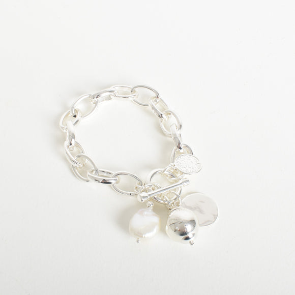 Pearl Disc Drop Chain Bracelet Silver
