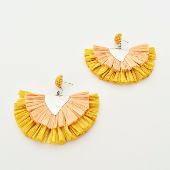 Raffia Layered Fringe Earrings Mustard