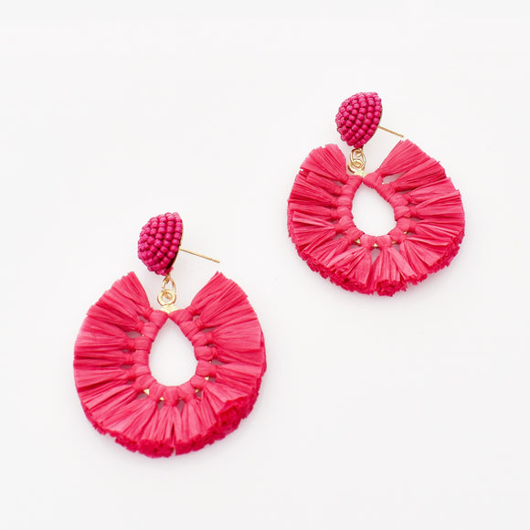 Viva Raffia Beaded Top Earrings Magenta