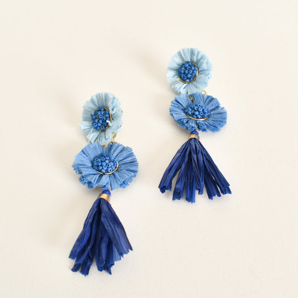 Raffia Tassel Drop Earrings Blue Multi