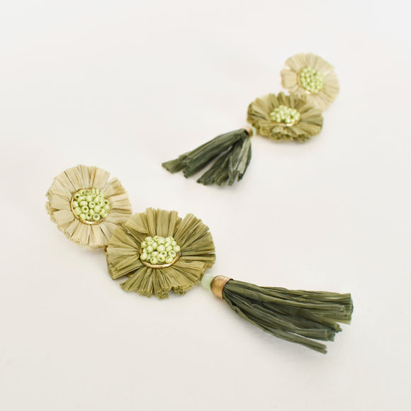 Raffia Tassel Drop Earrings Green Multi