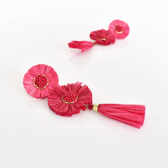 Sadie Raffia Tassel Drop Earrings Magenta