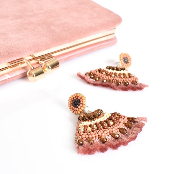 Curved Beaded Fringe Earrings Pink