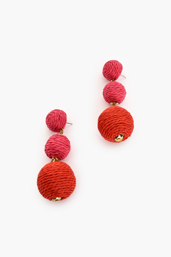 Ball Drop Earrings Pink Red