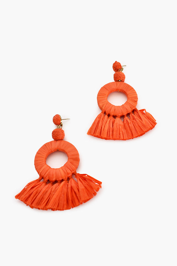 Raffia Ring Tassel Earrings Orange