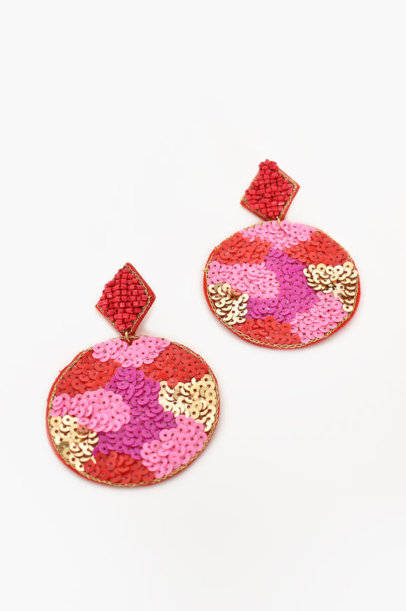 Diamond Top Drop Earrings Red Pink