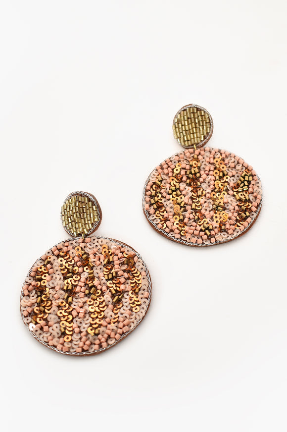 Patterned Circle Bead Earrings Gold Nude
