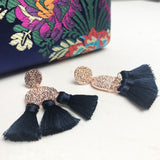 Textured Shapes Tassel Earrings