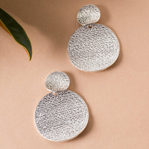 Pitted Double Disk Stud Earrings