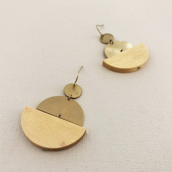 Linked Timber Metal Crescent Earrings