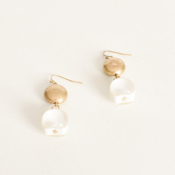 Resin Bead Drop Earrings Natural/ Gold