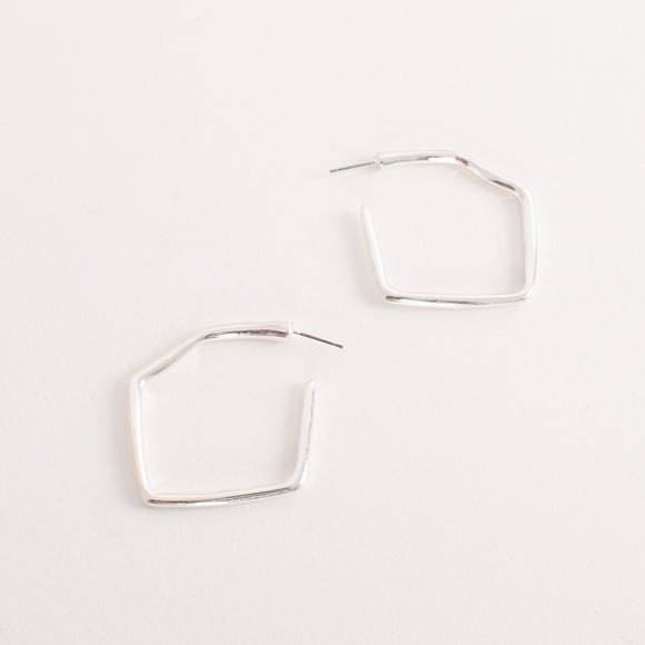 Geo Hoop Earrings Silver