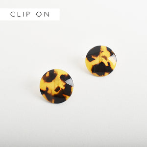 Resin Dome Clip On Earrings Tort