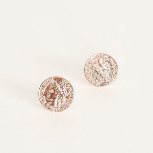 Roman Wreath Coin Studs Rose