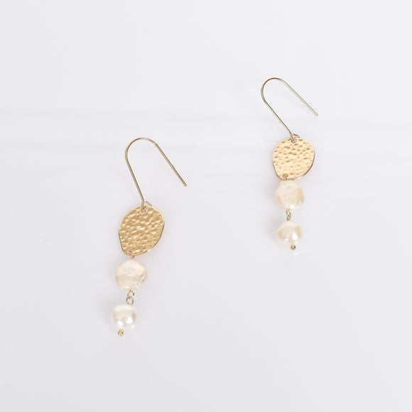Freshwater Pearl Drop Thread Through Earrings Gold