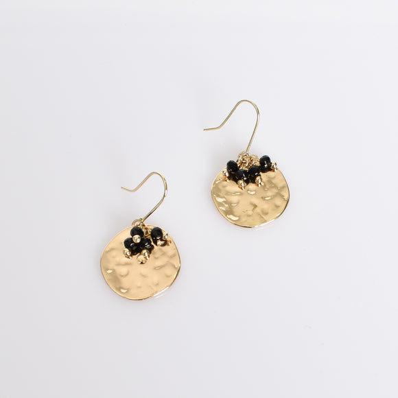 Bead Cluster Disc Earrings Black
