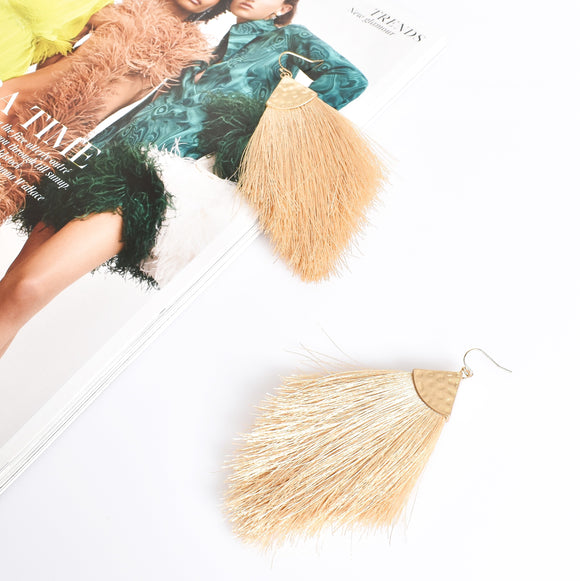 Beaten Soft Fringe Hook Earrings Nude/ Gold