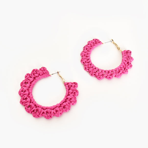 Mini Crochet Hoops Hot Pink