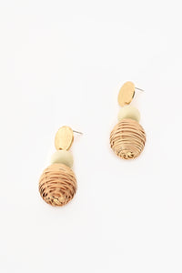 Rattan Crafty Earrings White Natural