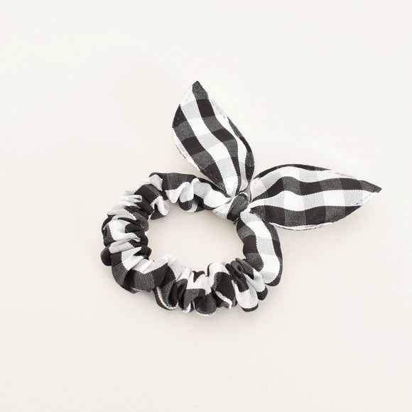 Audrey Gingham Mini Scrunchie Black
