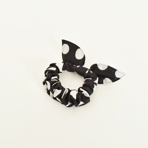 Polka Dot Mini Scrunchie Black