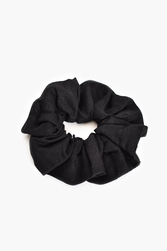 Supersized Linen Scrunchie Black