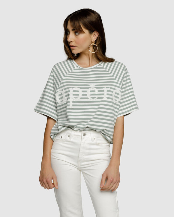 Malta Oversized Tee Sage Green/ White Stripe