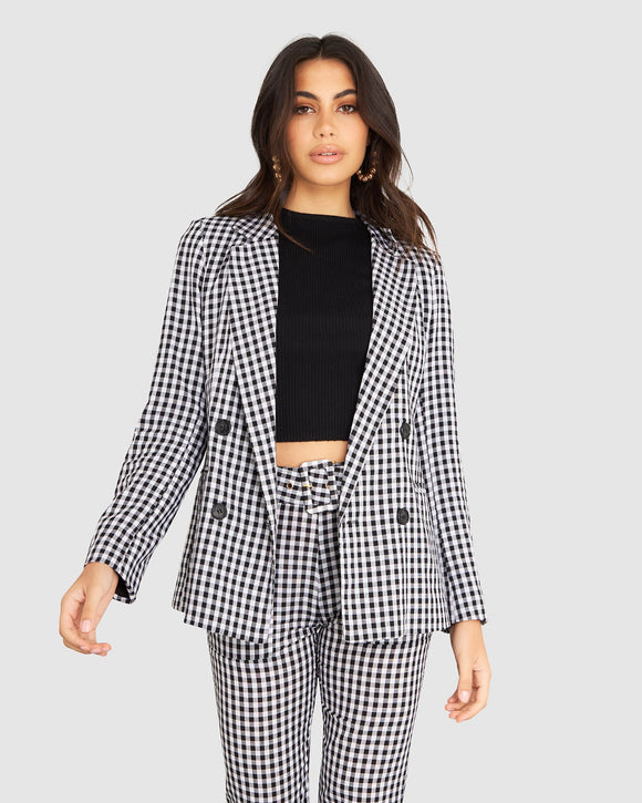 Izi Gingham Boyfriend Blazer Black/White Check