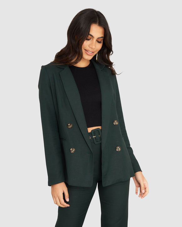 Freedom Linen Blazer Forest Green