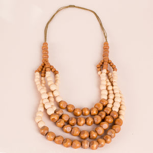 Four Layer Cord Necklace Natural
