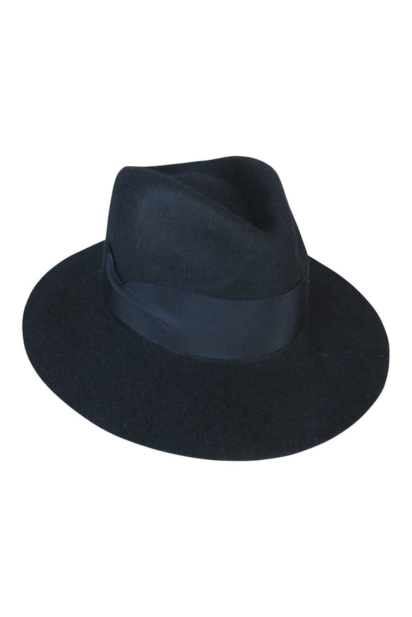 Navy Felt Fedora with Pete Band