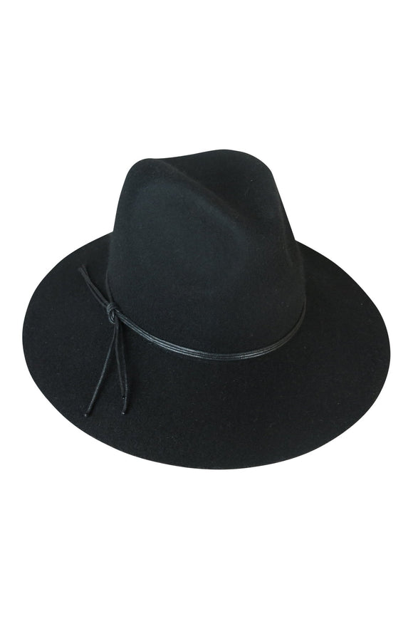 Black Felt Fedora with string tie