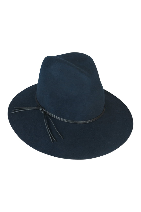 Navy Felt Fedora with string tie