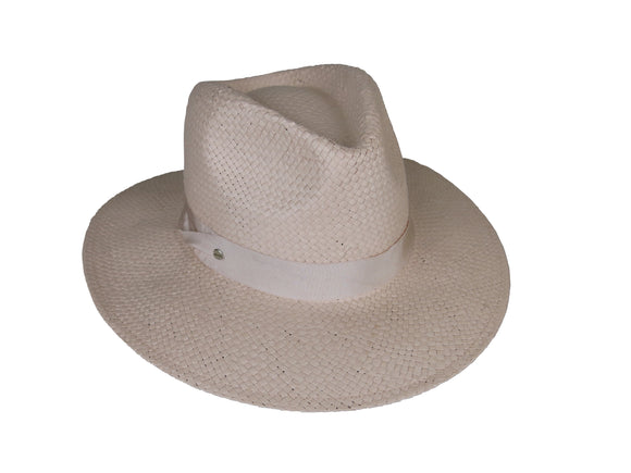 Oyster Pink Woven Paper Fedora with Pete Trim